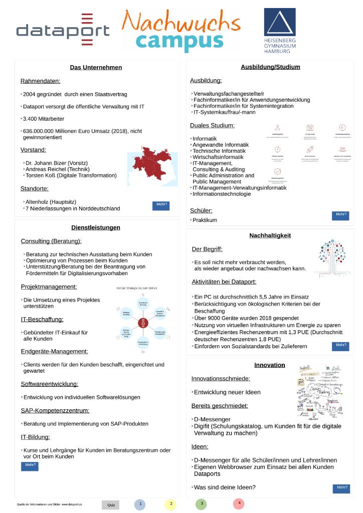Interaktives Poster des Heisenberg Gymnasiums zum Unternehmen Dataport