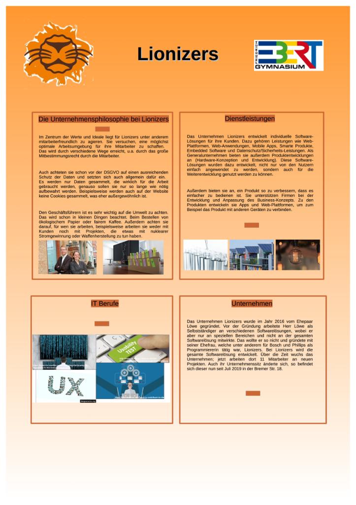 Interaktives Poster des Friedrich-Ebert-Gymnasiums zum Unternehmen Lionizers